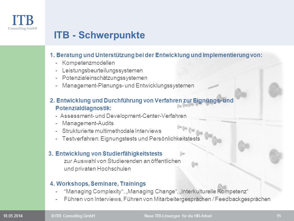 1. Beratung und Unterstützung bei der Entwicklung und Implementierung von: - Kompetenzmodellen - Leistungsbeurteilungssystemen - Potenzialeinschätzung