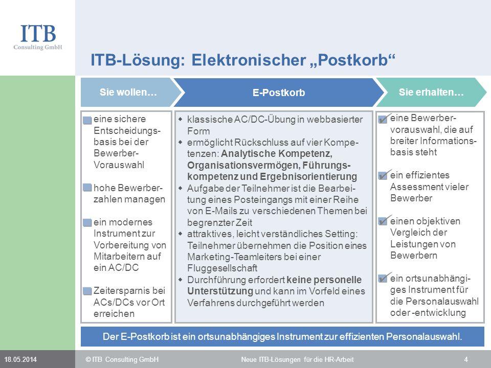 © ITB Consulting GmbH Neue ITB-Lösungen für die HR-Arbeit418.05.2014 ITB-Lösung: Elektronischer Postkorb Sie wollen… eine sichere Entscheidungs- basis