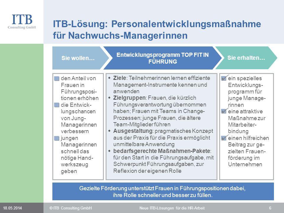 618.05.2014 ITB-Lösung: Personalentwicklungsmaßnahme für Nachwuchs-Managerinnen Sie wollen… den Anteil von Frauen in Führungsposi- tionen erhöhen die