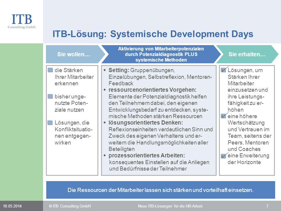 718.05.2014 ITB-Lösung: Systemische Development Days Sie wollen… die Stärken Ihrer Mitarbeiter erkennen bisher unge- nutzte Poten- ziale nutzen Lösung
