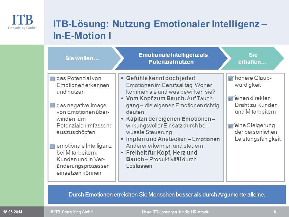 818.05.2014 ITB-Lösung: Nutzung Emotionaler Intelligenz – In-E-Motion I das Potenzial von Emotionen erkennen und nutzen das negative Image von Emotion