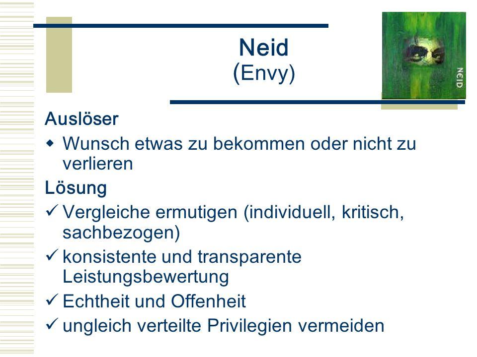 Neid ( Envy) Auslöser Wunsch etwas zu bekommen oder nicht zu verlieren Lösung Vergleiche ermutigen (individuell, kritisch, sachbezogen) konsistente un