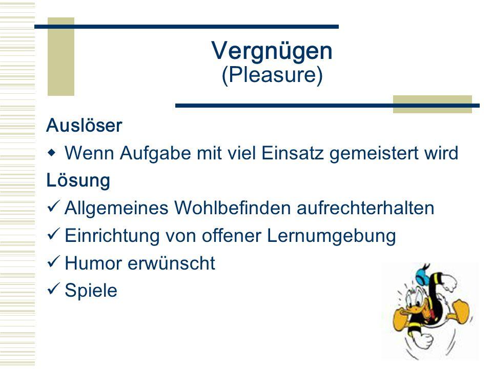Vergnügen (Pleasure) Auslöser Wenn Aufgabe mit viel Einsatz gemeistert wird Lösung Allgemeines Wohlbefinden aufrechterhalten Einrichtung von offener L
