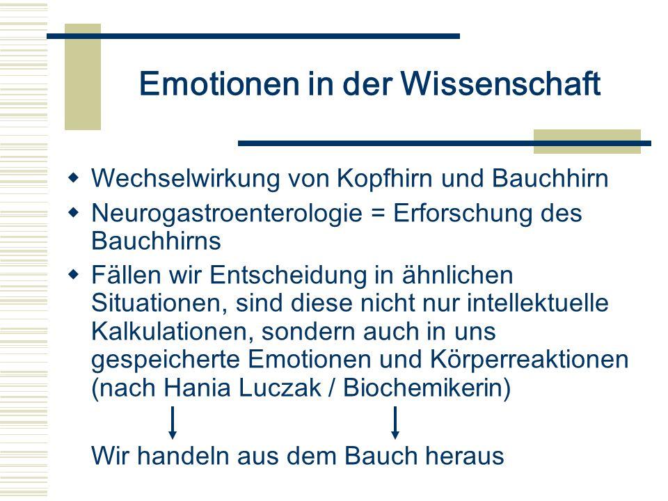 Emotionen in der Wissenschaft Wechselwirkung von Kopfhirn und Bauchhirn Neurogastroenterologie = Erforschung des Bauchhirns Fällen wir Entscheidung in