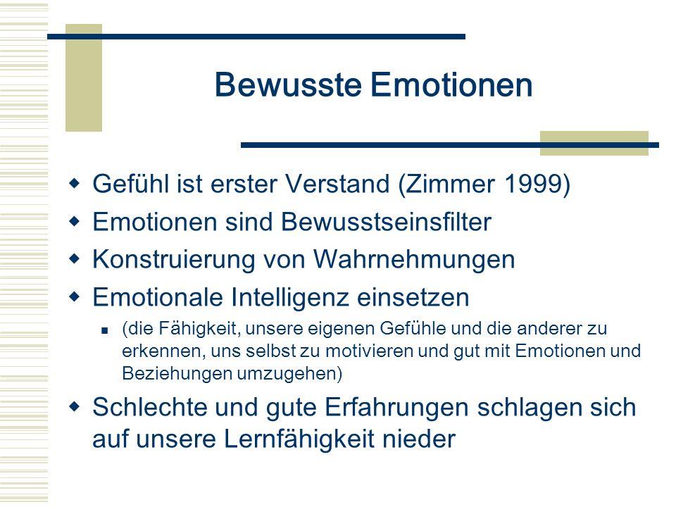 Bewusste Emotionen Gefühl ist erster Verstand (Zimmer 1999) Emotionen sind Bewusstseinsfilter Konstruierung von Wahrnehmungen Emotionale Intelligenz e