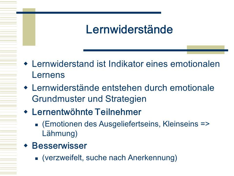 Lernwiderstände Lernwiderstand ist Indikator eines emotionalen Lernens Lernwiderstände entstehen durch emotionale Grundmuster und Strategien Lernentwö