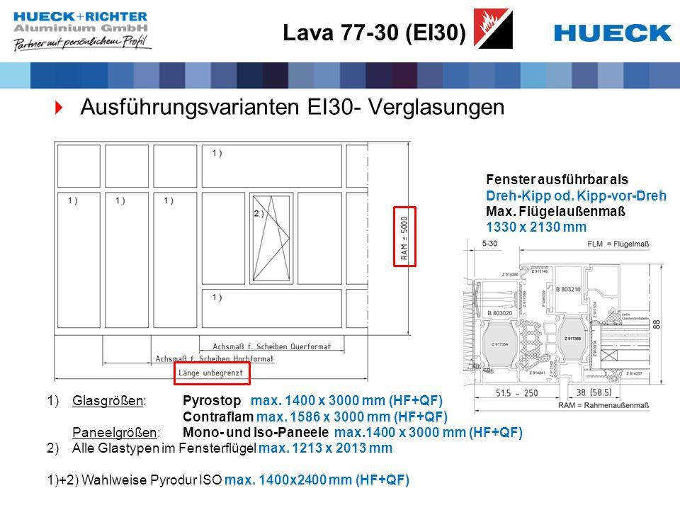 Lava 77-30 (EI30) Ausführungsvarianten EI30- Verglasungen 1)Glasgrößen: Pyrostop max. 1400 x 3000 mm (HF+QF) Contraflam max. 1586 x 3000 mm (HF+QF) Pa
