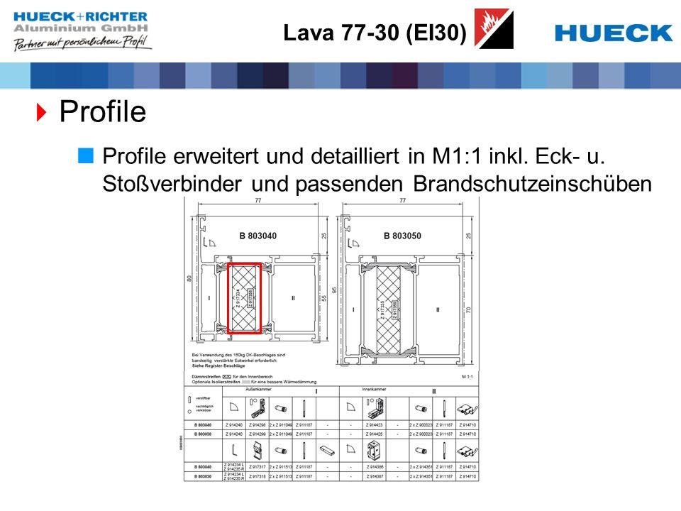 Lava 77-30 (EI30) Profile Profile erweitert und detailliert in M1:1 inkl. Eck- u. Stoßverbinder und passenden Brandschutzeinschüben