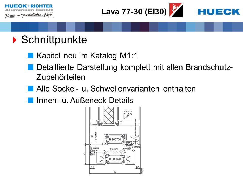Lava 77-30 (EI30) Schnittpunkte Kapitel neu im Katalog M1:1 Detaillierte Darstellung komplett mit allen Brandschutz- Zubehörteilen Alle Sockel- u. Sch