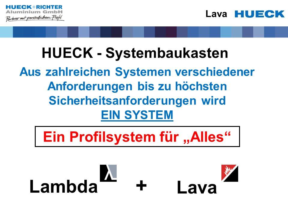 Lava HUECK - Systembaukasten Ein Profilsystem für Alles Lambda Lava + Aus zahlreichen Systemen verschiedener Anforderungen bis zu höchsten Sicherheits