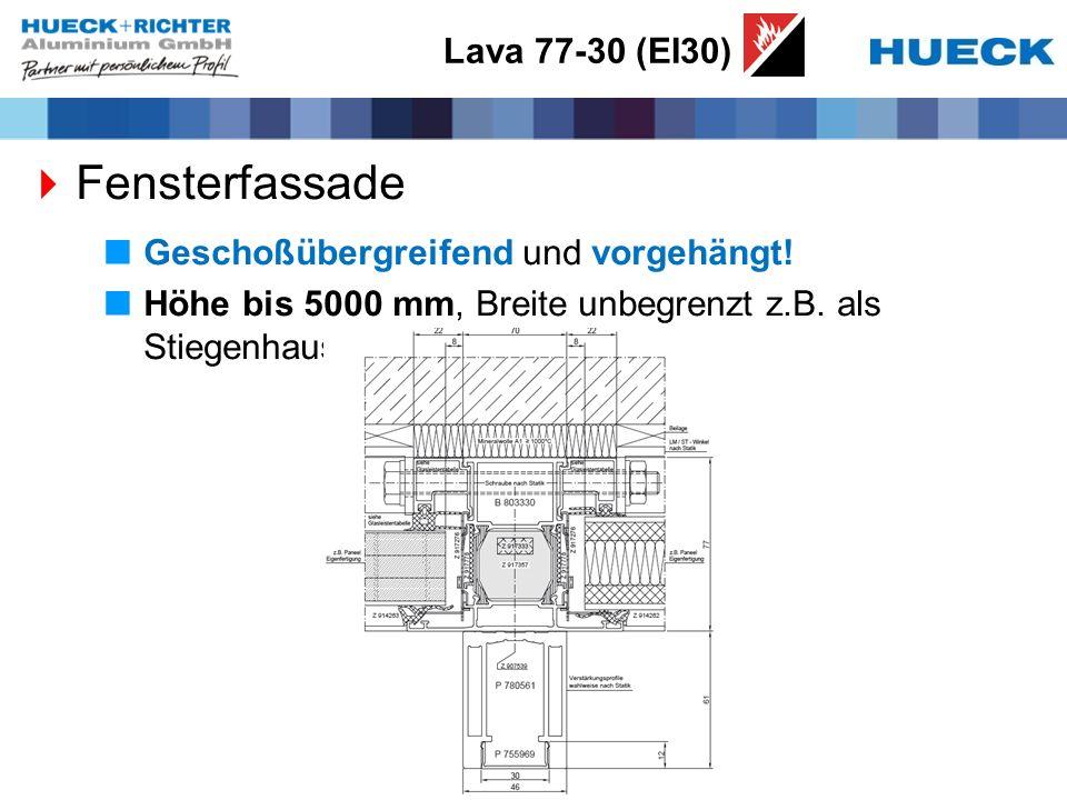 Lava 77-30 (EI30) Fensterfassade Geschoßübergreifend und vorgehängt! Höhe bis 5000 mm, Breite unbegrenzt z.B. als Stiegenhausverglasung