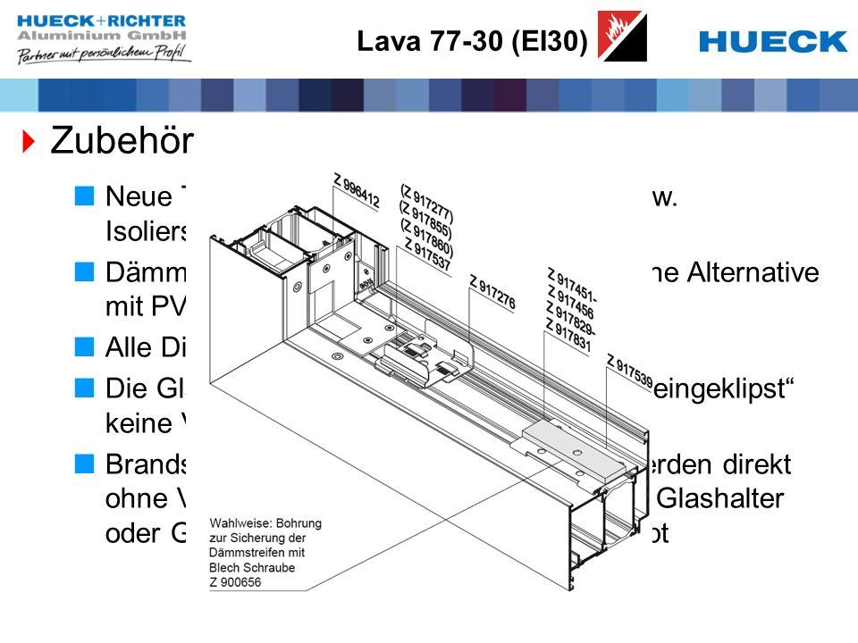 Lava 77-30 (EI30) Zubehör Neue Tabelle mit Zuordnung der Dämm- bzw. Isolierstreifen zu allen Profilen Dämmschichtstreifen (Klebestreifen) optische Alt