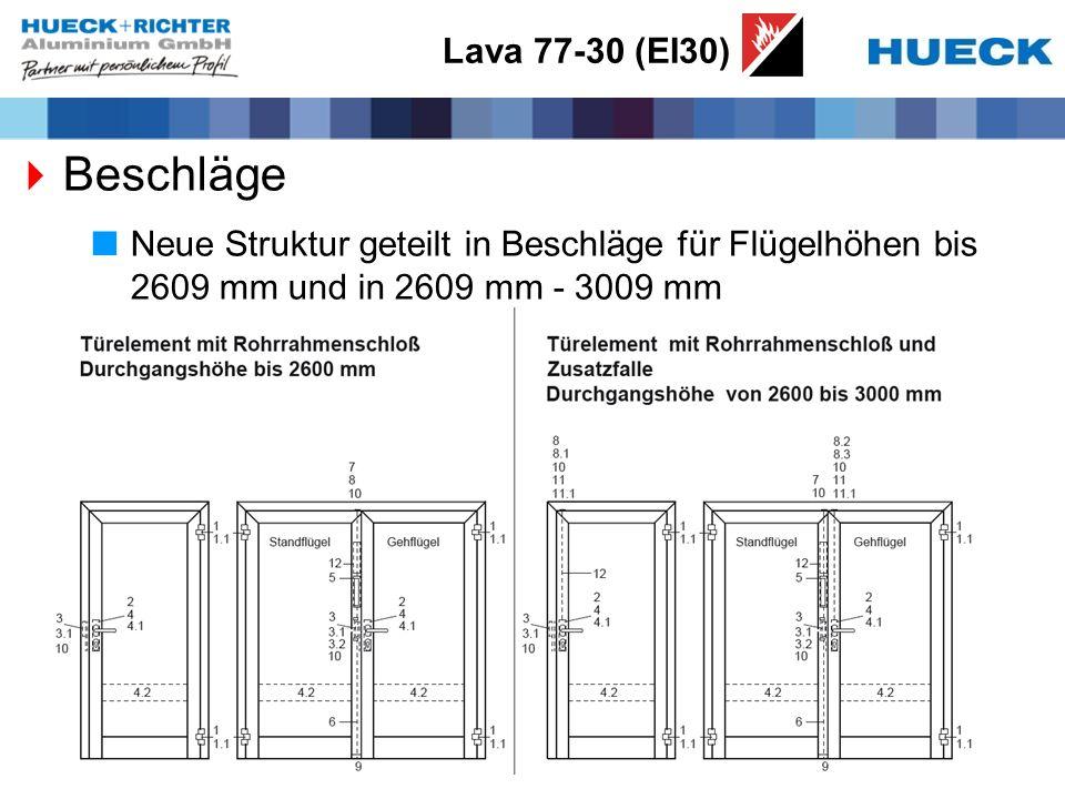 Lava 77-30 (EI30) Beschläge Neue Struktur geteilt in Beschläge für Flügelhöhen bis 2609 mm und in 2609 mm - 3009 mm