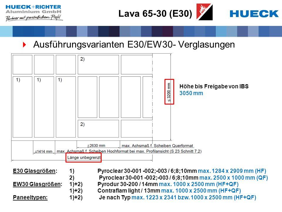 Lava 65-30 (E30) Ausführungsvarianten E30/EW30- Verglasungen E30 Glasgrößen: 1) Pyroclear 30-001 -002;-003 / 6;8;10mm max. 1284 x 2909 mm (HF) 2) Pyro