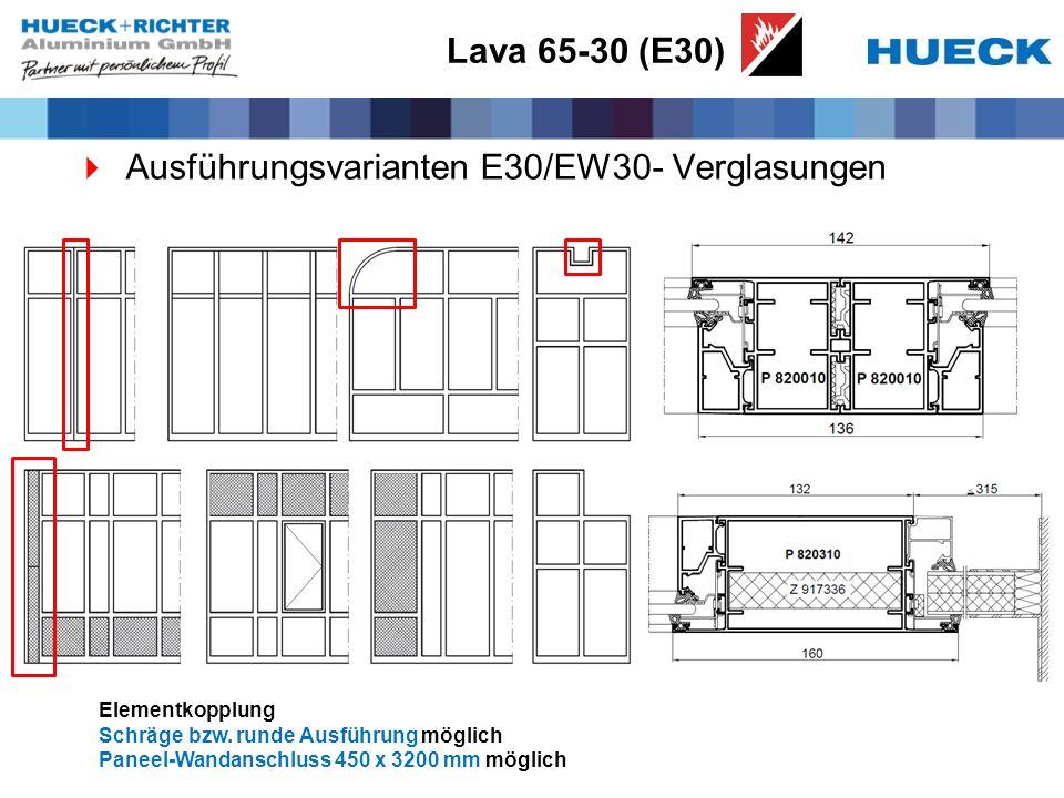 Lava 65-30 (E30) Ausführungsvarianten E30/EW30- Verglasungen Elementkopplung Schräge bzw. runde Ausführung möglich Paneel-Wandanschluss 450 x 3200 mm