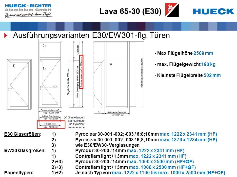 Lava 65-30 (E30) Ausführungsvarianten E30/EW301-flg. Türen - Max Flügelhöhe 2509 mm - max. Flügelgewicht 190 kg -Kleinste Flügelbreite 502 mm E30 Glas