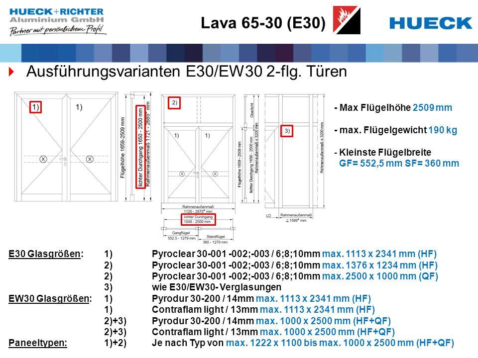 Lava 65-30 (E30) Ausführungsvarianten E30/EW30 2-flg. Türen - Max Flügelhöhe 2509 mm - max. Flügelgewicht 190 kg -Kleinste Flügelbreite GF= 552,5 mm S