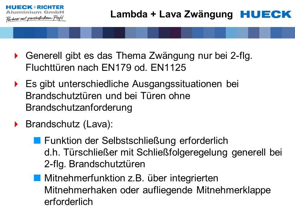Lambda + Lava Zwängung Generell gibt es das Thema Zwängung nur bei 2-flg. Fluchttüren nach EN179 od. EN1125 Es gibt unterschiedliche Ausgangssituation