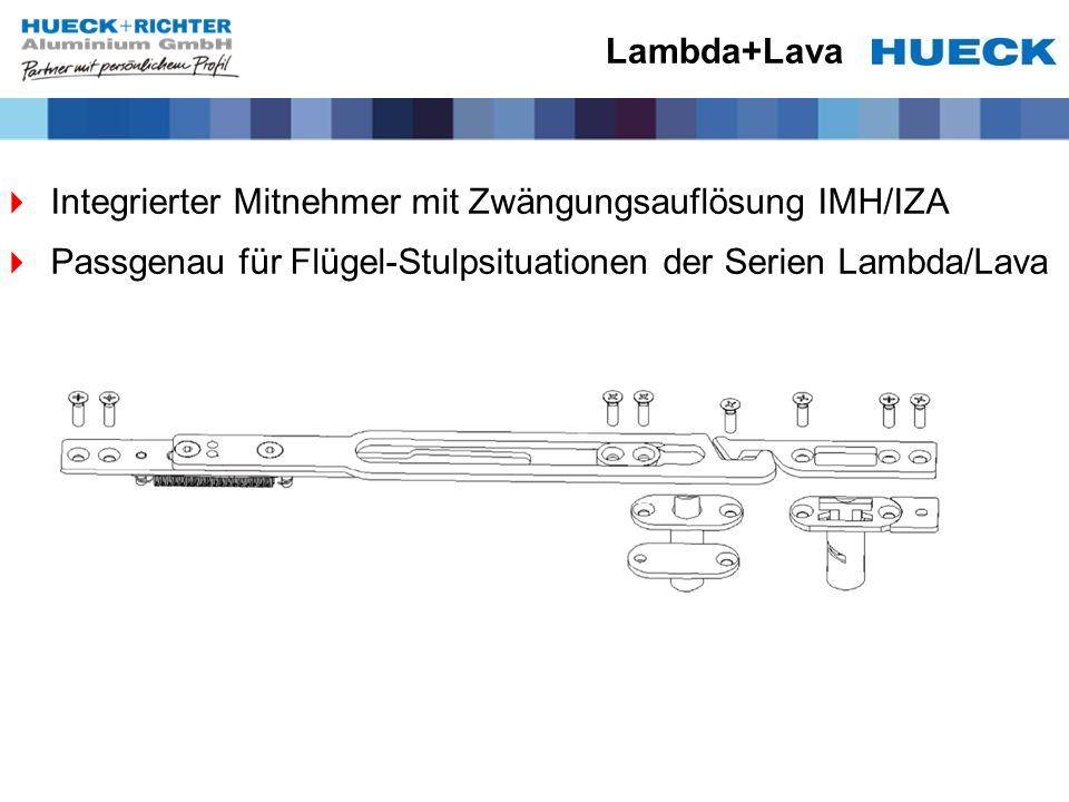 Lambda+Lava Integrierter Mitnehmer mit Zwängungsauflösung IMH/IZA Passgenau für Flügel-Stulpsituationen der Serien Lambda/Lava