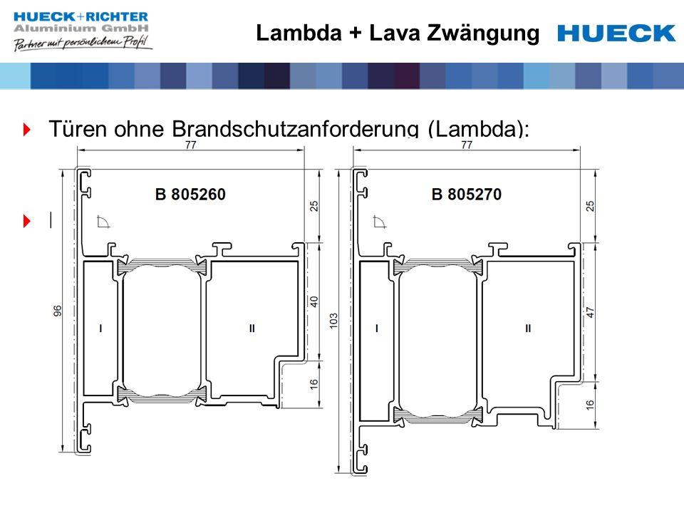 Lambda + Lava Zwängung Türen ohne Brandschutzanforderung (Lambda): Keine Zusatzfunktionen Für Lambda stehen 2 Panikflügelprofile zur Verfügung