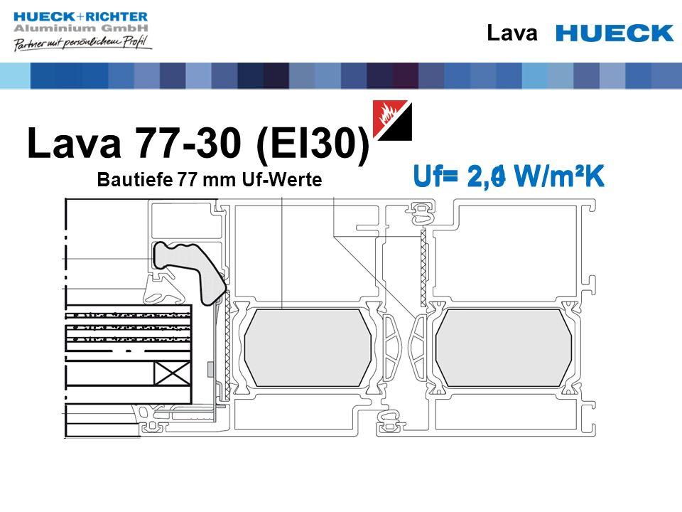 Lava Lava 77-30 (EI30) Bautiefe 77 mm Uf-Werte Uf= 2,4 W/m²K Uf= 2,0 W/m²K