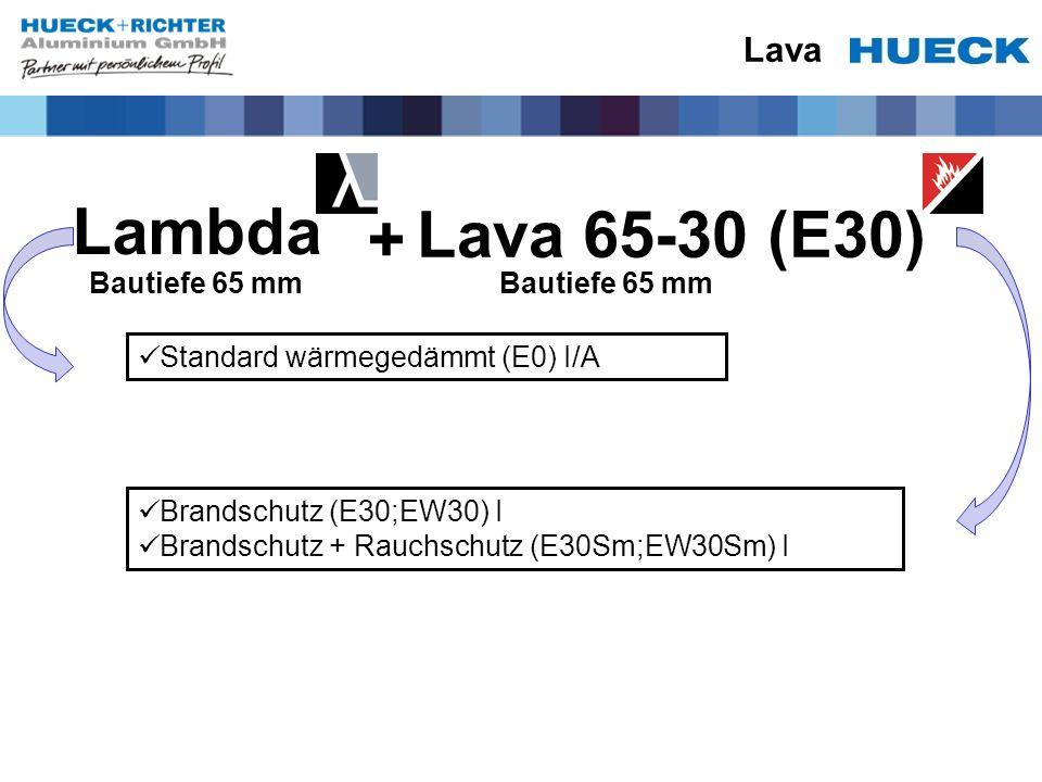 Lava Standard wärmegedämmt (E0) I/A Brandschutz (E30;EW30) I Brandschutz + Rauchschutz (E30Sm;EW30Sm) I Lambda Lava 65-30 (E30) + Bautiefe 65 mm