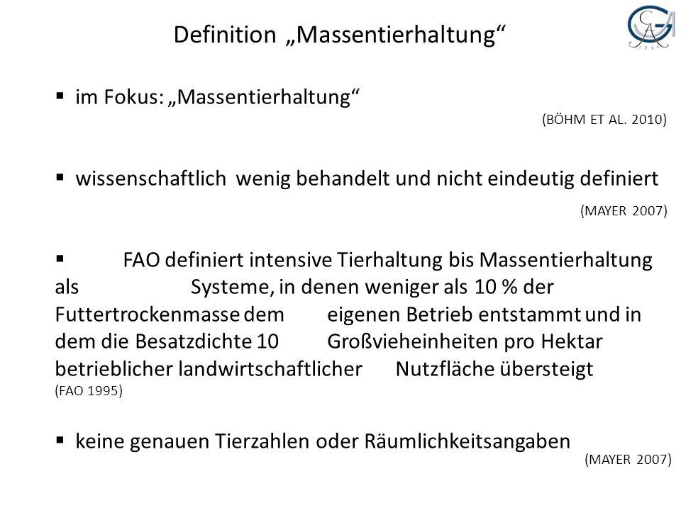 Definition Massentierhaltung im Fokus: Massentierhaltung wissenschaftlich wenig behandelt und nicht eindeutig definiert FAO definiert intensive Tierha