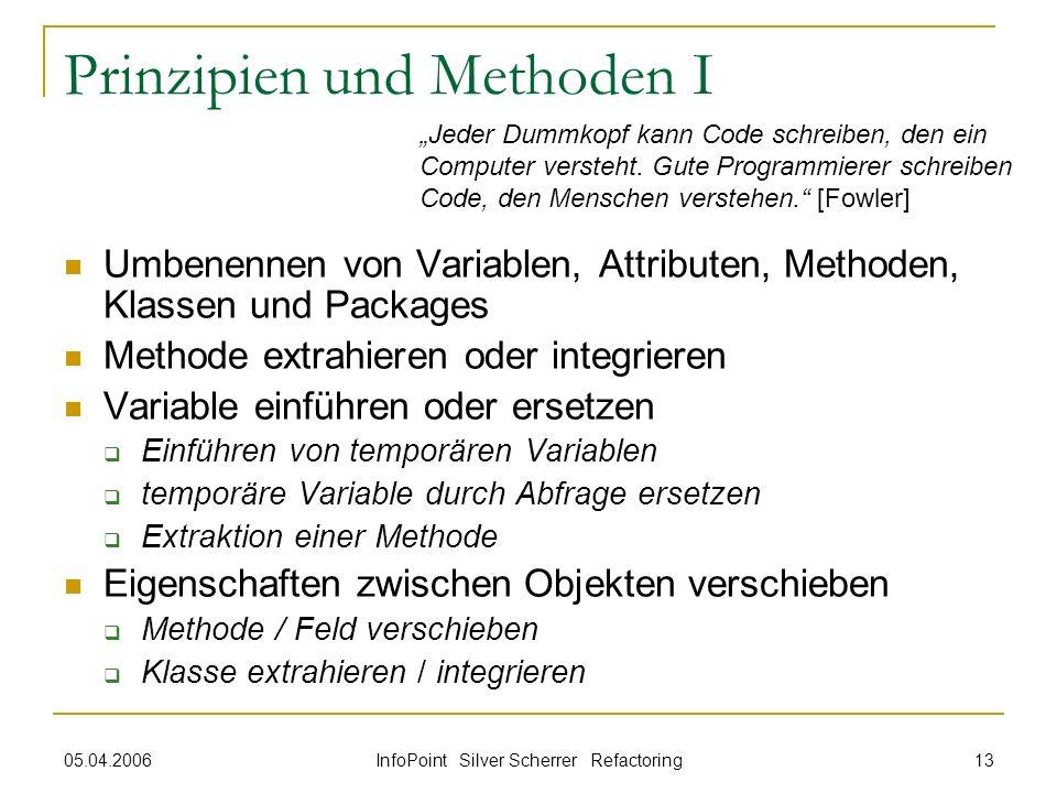 05.04.2006 InfoPoint Silver Scherrer Refactoring 13 Prinzipien und Methoden I Umbenennen von Variablen, Attributen, Methoden, Klassen und Packages Met