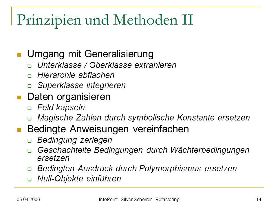05.04.2006 InfoPoint Silver Scherrer Refactoring 14 Prinzipien und Methoden II Umgang mit Generalisierung Unterklasse / Oberklasse extrahieren Hierarc