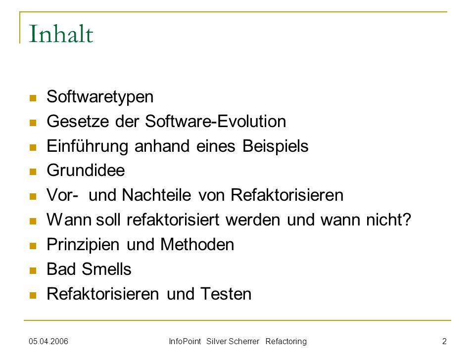 05.04.2006 InfoPoint Silver Scherrer Refactoring 2 Inhalt Softwaretypen Gesetze der Software-Evolution Einführung anhand eines Beispiels Grundidee Vor