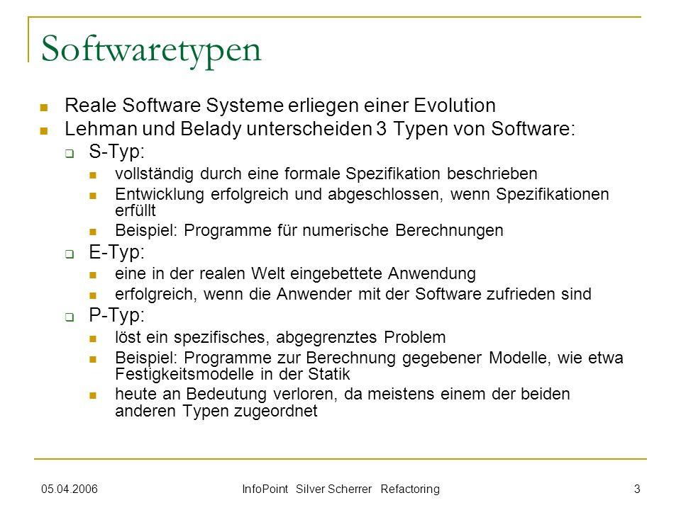 05.04.2006 InfoPoint Silver Scherrer Refactoring 3 Softwaretypen Reale Software Systeme erliegen einer Evolution Lehman und Belady unterscheiden 3 Typ