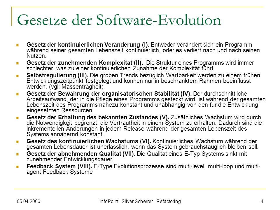 05.04.2006 InfoPoint Silver Scherrer Refactoring 4 Gesetze der Software-Evolution Gesetz der kontinuierlichen Veränderung (I). Entweder verändert sich