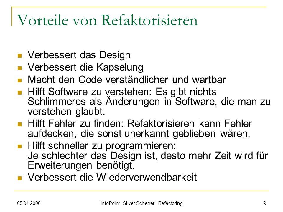 05.04.2006 InfoPoint Silver Scherrer Refactoring 9 Vorteile von Refaktorisieren Verbessert das Design Verbessert die Kapselung Macht den Code verständ