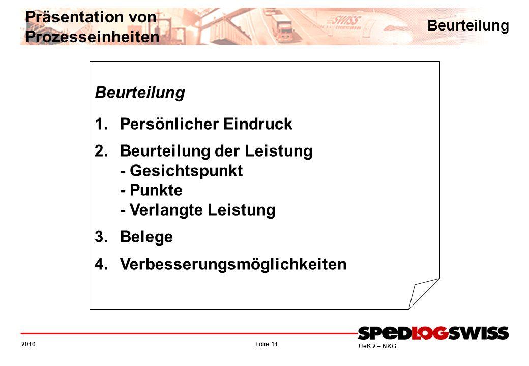 Folie 11 2010 UeK 2 – NKG Beurteilung 1.Persönlicher Eindruck 2.Beurteilung der Leistung - Gesichtspunkt - Punkte - Verlangte Leistung 3.Belege 4.Verb