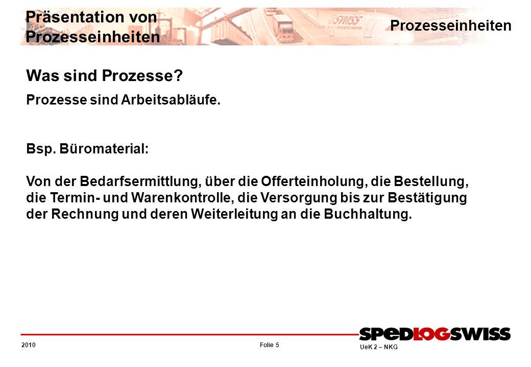 Folie 5 2010 UeK 2 – NKG Was sind Prozesse? Prozesse sind Arbeitsabläufe. Bsp. Büromaterial: Von der Bedarfsermittlung, über die Offerteinholung, die