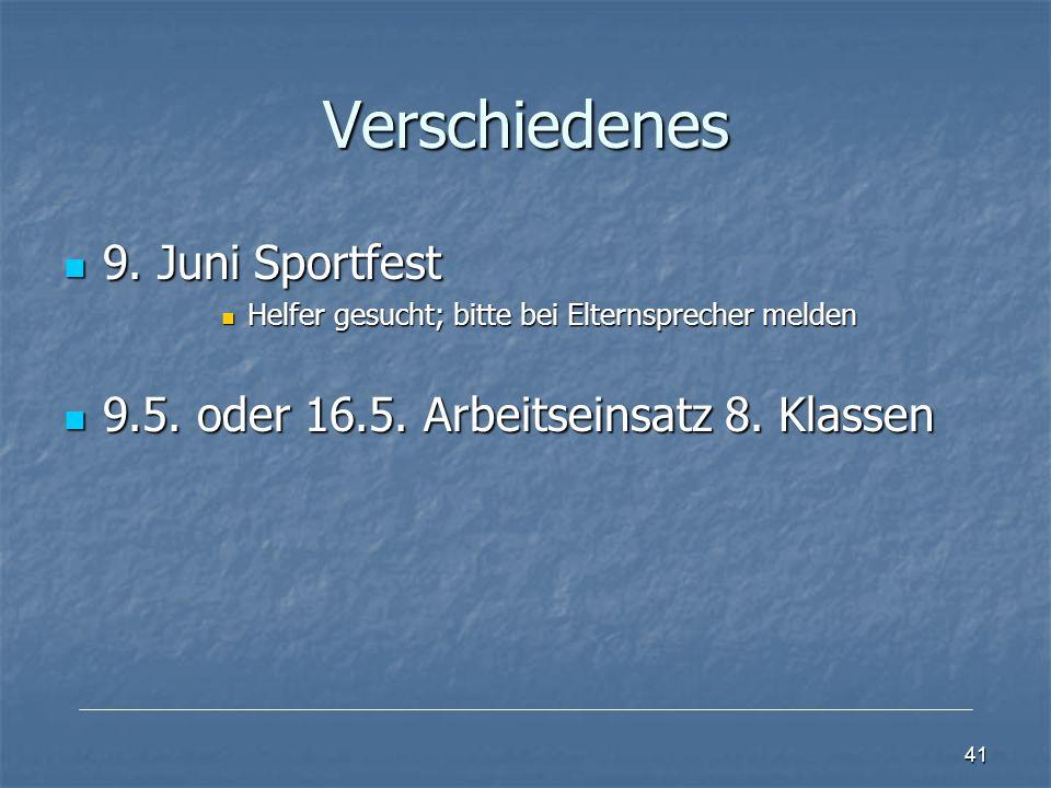Verschiedenes 9.Juni Sportfest 9.