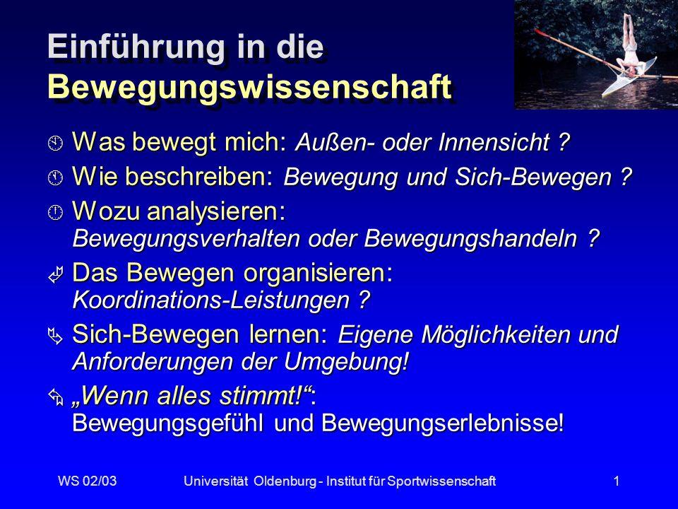 WS 02/03Universität Oldenburg - Institut für Sportwissenschaft11 Betrachtungsweisen (Roth/Willimczik 1999) biomechanische biomechanische ganzheitliche (Morphologie, Systemdynamik, Konnektionismus) ganzheitliche (Morphologie, Systemdynamik, Konnektionismus) funktionale (Handlungstheorie, Informations- verarbeitung, Modularitätshypothese) funktionale (Handlungstheorie, Informations- verarbeitung, Modularitätshypothese) fähigkeitsorientierte fähigkeitsorientierte