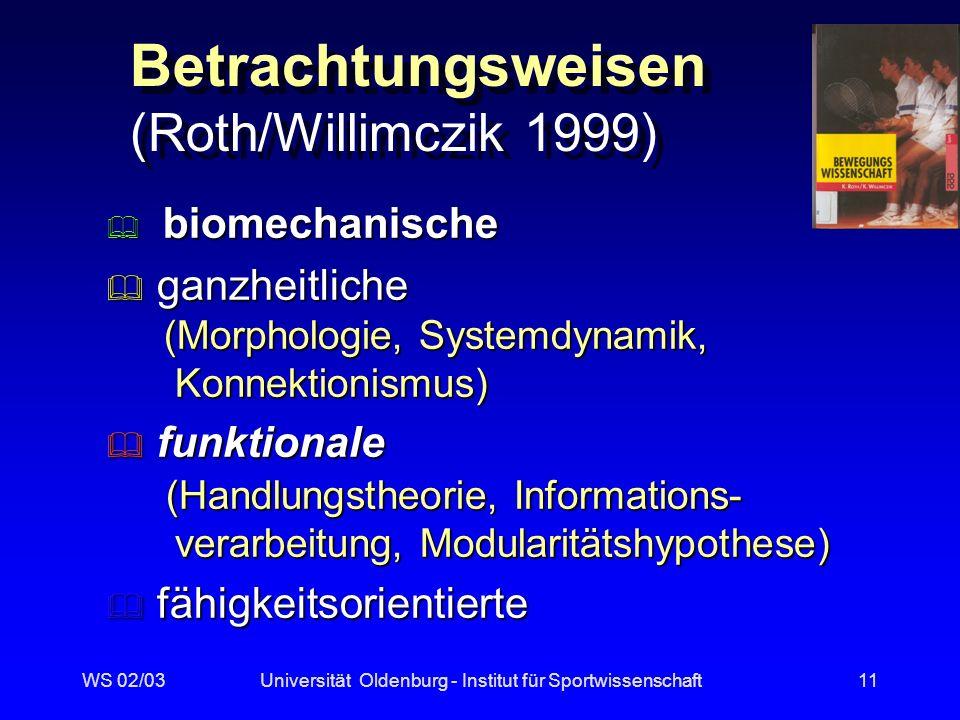 WS 02/03Universität Oldenburg - Institut für Sportwissenschaft10 Einfaches Handlungsgrundmuster mod.