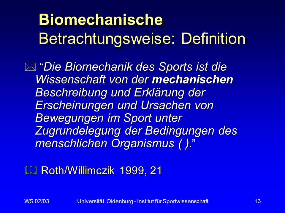 WS 02/03Universität Oldenburg - Institut für Sportwissenschaft12 Sichtweisen (Loosch 1999) morphologisch phänomenorientierte (ganzheitliche) morphologisch phänomenorientierte (ganzheitliche) handlungstheoretische handlungstheoretische physikalisch-biomechanische physikalisch-biomechanische anatomisch-physiologische anatomisch-physiologische funktionale funktionale Meinel 1960 Meinel 1960