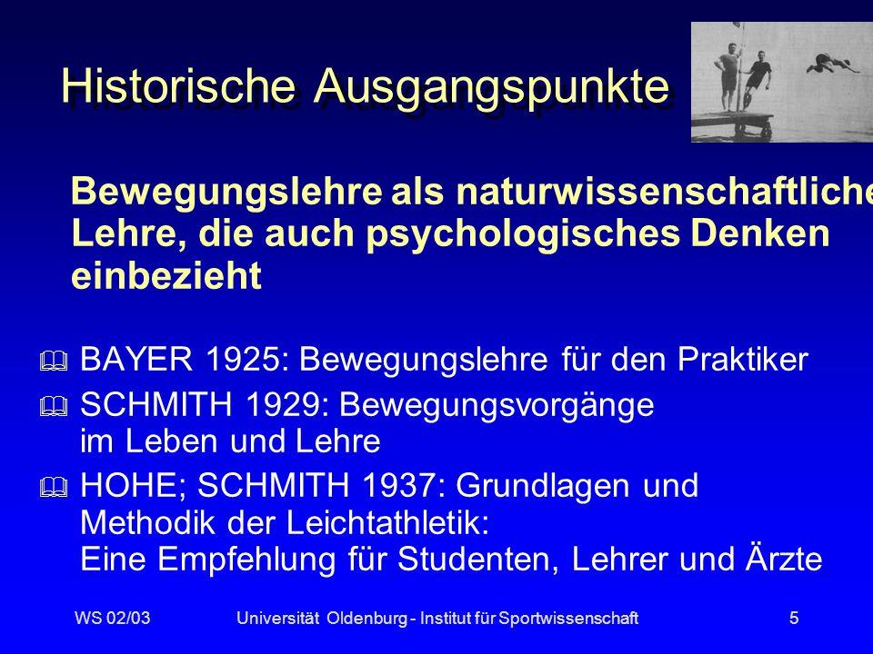 WS 02/03Universität Oldenburg - Institut für Sportwissenschaft4 Bewegungs-Lehre (GÖHNER 1992, 13f)...
