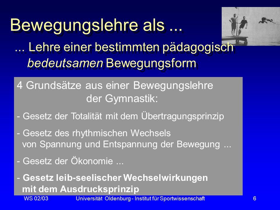 WS 02/03Universität Oldenburg - Institut für Sportwissenschaft16 z.B.