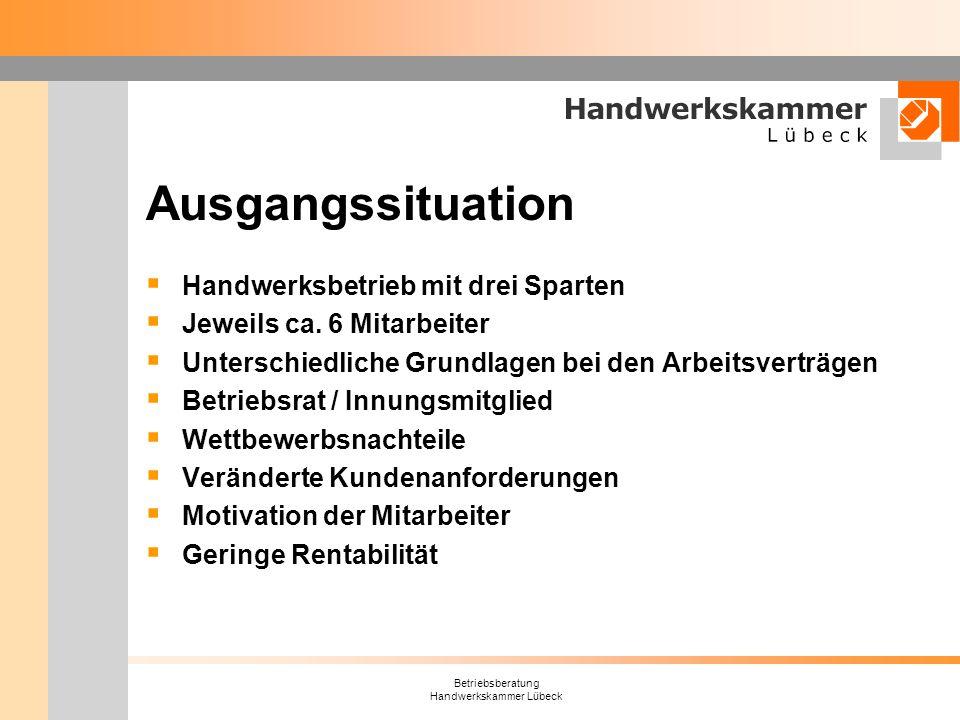Betriebsberatung Handwerkskammer Lübeck Ausgangssituation Handwerksbetrieb mit drei Sparten Jeweils ca. 6 Mitarbeiter Unterschiedliche Grundlagen bei