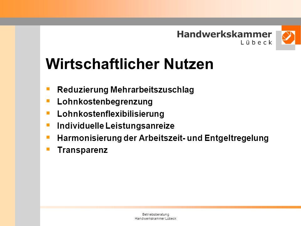 Betriebsberatung Handwerkskammer Lübeck Wirtschaftlicher Nutzen Reduzierung Mehrarbeitszuschlag Lohnkostenbegrenzung Lohnkostenflexibilisierung Indivi