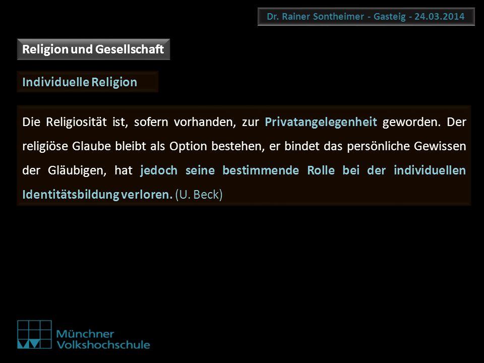 Dr. Rainer Sontheimer - Gasteig - 24.03.2014 Die Religiosität ist, sofern vorhanden, zur Privatangelegenheit geworden. Der religiöse Glaube bleibt als