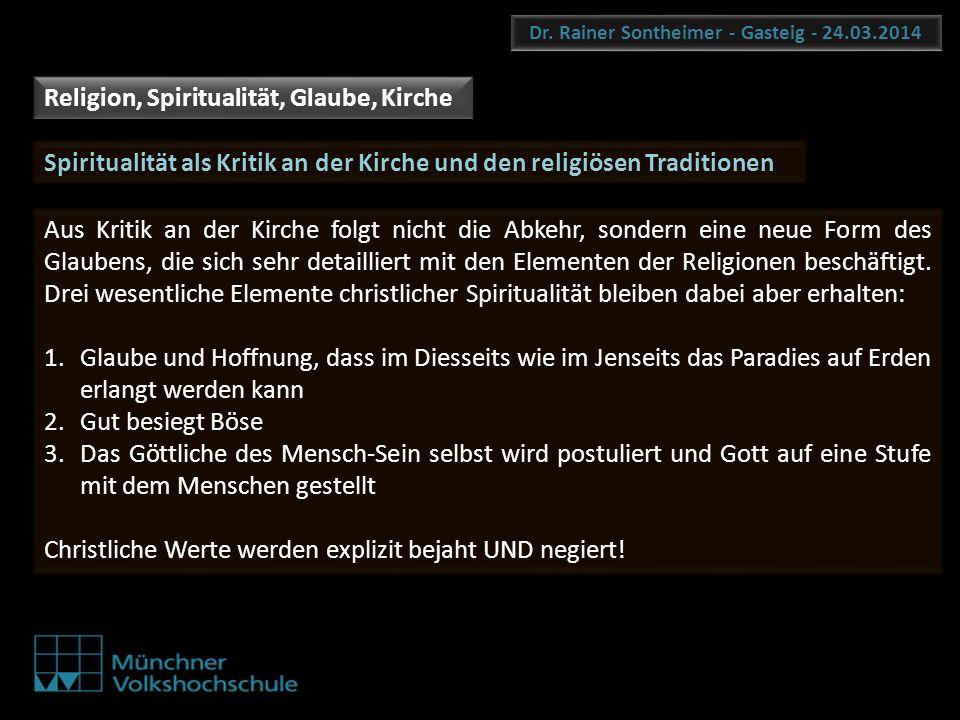 Dr. Rainer Sontheimer - Gasteig - 24.03.2014 Religion, Spiritualität, Glaube, Kirche Aus Kritik an der Kirche folgt nicht die Abkehr, sondern eine neu