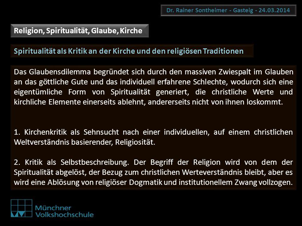 Dr. Rainer Sontheimer - Gasteig - 24.03.2014 Spiritualität als Kritik an der Kirche und den religiösen Traditionen Das Glaubensdilemma begründet sich