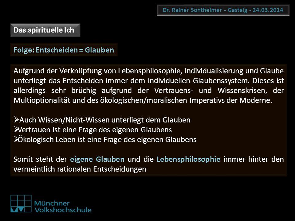 Dr. Rainer Sontheimer - Gasteig - 24.03.2014 Folge: Entscheiden = Glauben Aufgrund der Verknüpfung von Lebensphilosophie, Individualisierung und Glaub