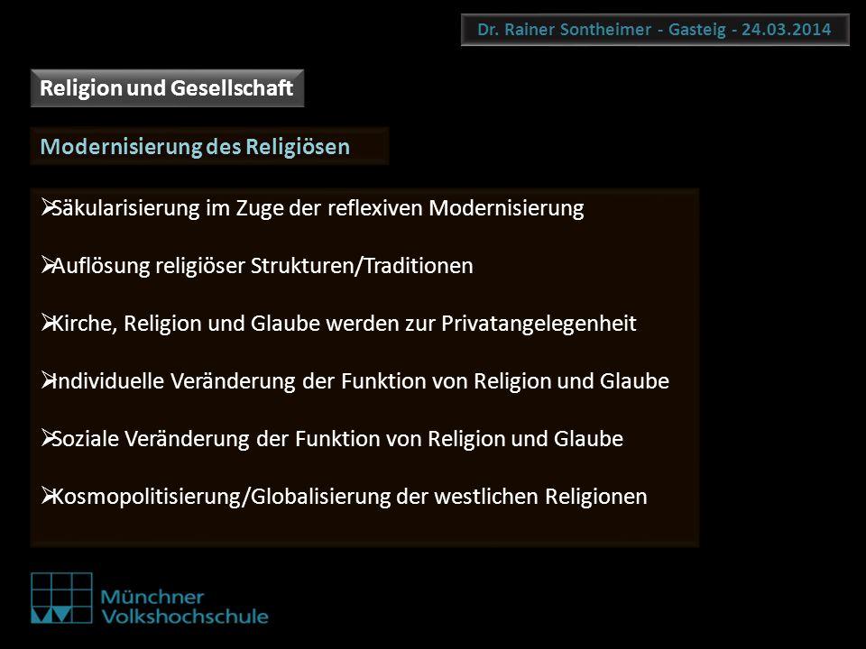 Dr. Rainer Sontheimer - Gasteig - 24.03.2014 Religion und Gesellschaft Modernisierung des Religiösen Säkularisierung im Zuge der reflexiven Modernisie