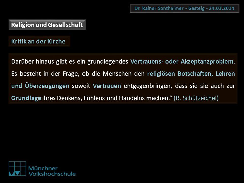 Dr. Rainer Sontheimer - Gasteig - 24.03.2014 Darüber hinaus gibt es ein grundlegendes Vertrauens- oder Akzeptanzproblem. Es besteht in der Frage, ob d