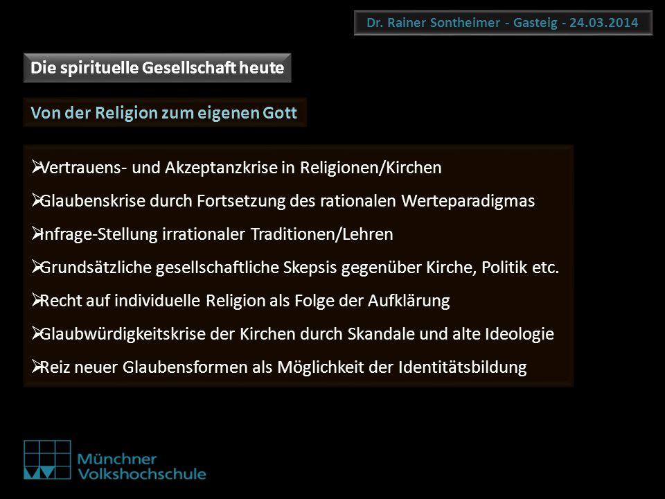 Dr. Rainer Sontheimer - Gasteig - 24.03.2014 Die spirituelle Gesellschaft heute Von der Religion zum eigenen Gott Vertrauens- und Akzeptanzkrise in Re